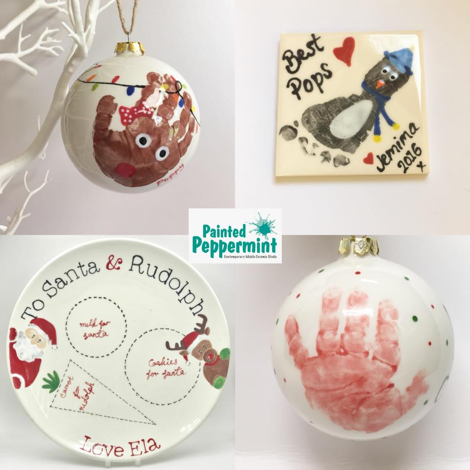 Painted Peppermint Christmas Ceramics